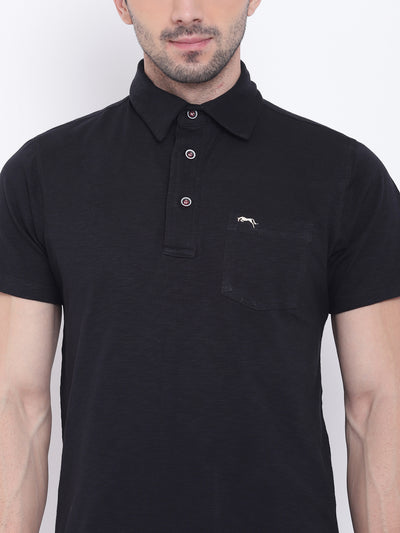 Men Casual Solid Black Polo Collar T-Shirt - JUMP USA