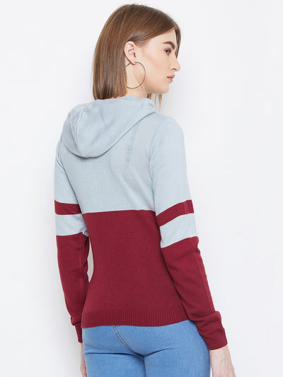 JUMP USA Women Blue & Red Colourblocked Hooded Sweater - JUMP USA