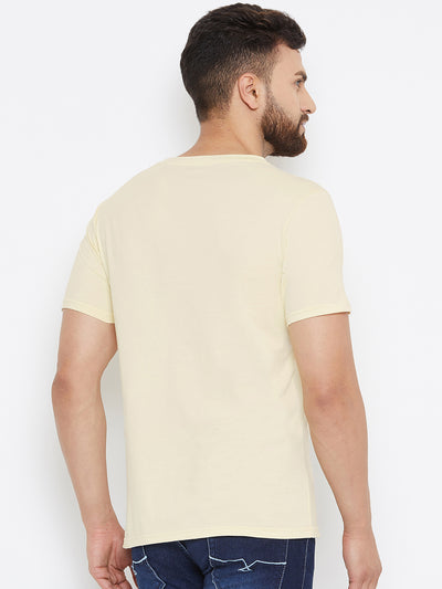Men Beige Solid V Neck T-shirt - JUMP USA