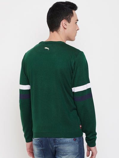 JUMP USA Men Green Solid Sweater - JUMP USA