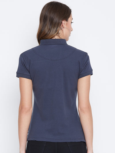 JUMP USA Women Navy Blue And Blue Colour blocked PoloT-Shirts - JUMP USA
