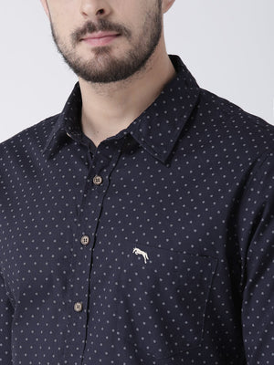 JUMP USA Men Navy Blue Printed Cotton Slim Fit Shirt - Jump USA