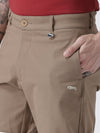 Men Brown Solid Chino Shorts - JUMP USA