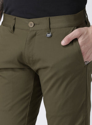 JUMP USA Men Olive Slim Fit Solid Chinos - Jump USA