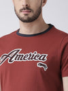 Men Red Solid Round Neck T-shirt - JUMP USA