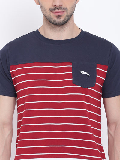 Men Casual Striped Red T-shirt - JUMP USA