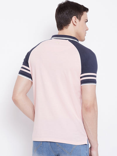 JUMP USA Men Pink Solid Polo T-shirts - JUMP USA