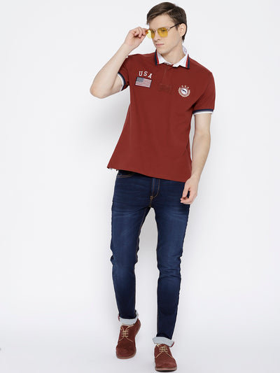 Men Red Solid Polo Collar T-shirt - JUMP USA