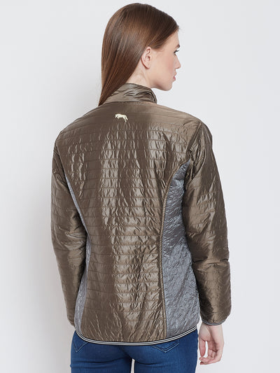 Women Casual Copper Quilted Jacket - JUMP USA