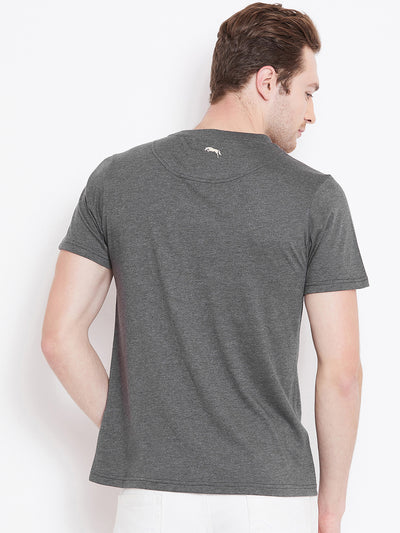 JUMP USA Men Grey Melange Printed Round Neck T-shirt - JUMP USA