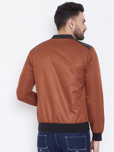 JUMP USA Men Brown Solid Casual Bomber Jacket - JUMP USA