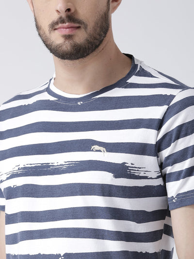 Men White Striped Round Neck T-shirt - JUMP USA