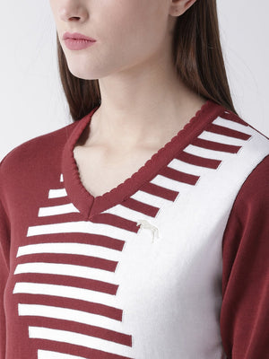 Women Cotton Casual Long Sleeve  Red Winter Sweaters