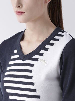 Women Cotton Casual Long Sleeve  Navy Winter Sweaters - Jump USA