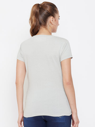 Women Grey Printed Casual Round neck T-shirt - JUMP USA
