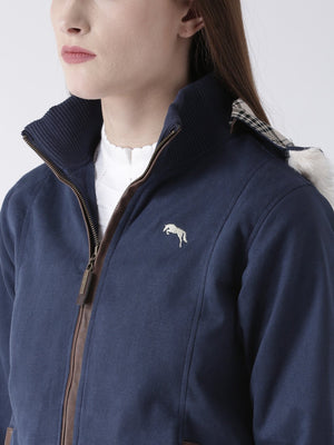 Women 's Polyster Casual Long Sleeve  Navy Winter Jacket - Jump USA