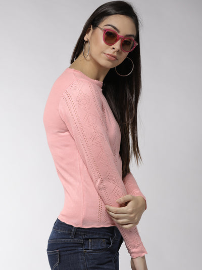 Women Solid Pink Pullover - JUMP USA