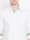 Men White Printed Casual Slim Fit Shirts - JUMP USA