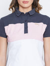 JUMP USA Women Navy Blue And Pink Colour blocked PoloT-Shirts - JUMP USA