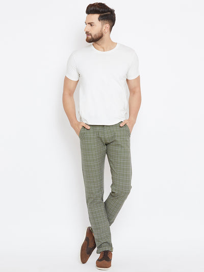 Men Green Relaxed Fit Casual Checked Chinos - JUMP USA