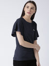 Women Navy Blue Solid Top - JUMP USA