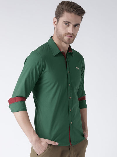 Men Green Solid Cotton Regular Fit Shirt - JUMP USA