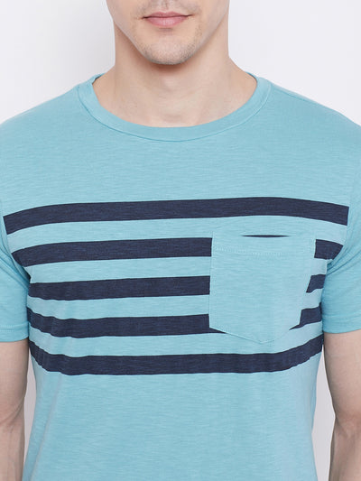 JUMP USA Men Blue Striped Round Neck T-shirt - JUMP USA