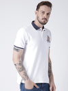 Men White Solid Polo T-shirt - JUMP USA