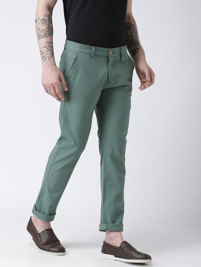 Men Grey Slim Fit Solid Chinos - JUMP USA