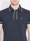 Men Navy Blue Solid Casual Polo T-shirts - JUMP USA