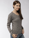 Women Self Design Beige Pullover - JUMP USA