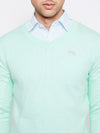JUMP USA Men Teal Self-Design Pullover - JUMP USA