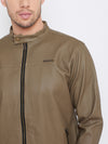 JUMP USA Men Khaki Casual Leather Jacket - JUMP USA