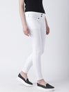 Women White Slim Fit Solid Casual Trousers - JUMP USA