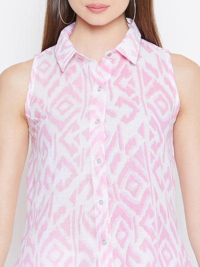 JUMP USA Women White & Pink Printed Casual Shirts - JUMP USA