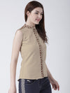 Women Beige Solid Top - JUMP USA