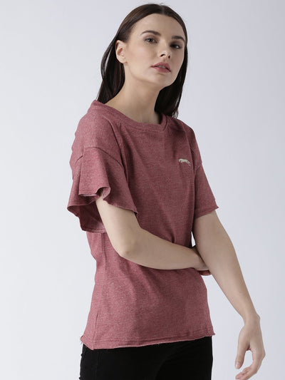 Women Red Solid Top - JUMP USA