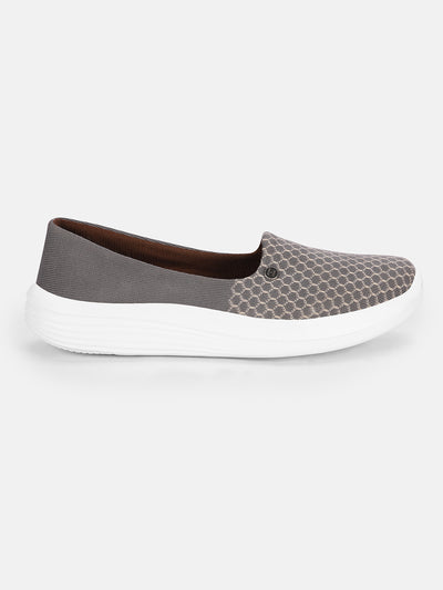 JUMP USA Women's Textured Grey Smart Casual Sneakers Shoes - JUMP USA
