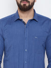 JUMP USA Men Blue Solid Cotton Casual Shirts - JUMP USA