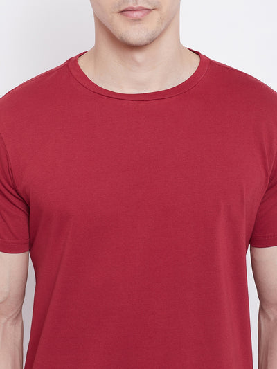JUMP USA Men Red Solid Round Neck T-shirt - JUMP USA