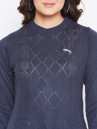 JUMP USA Women Navy Blue Self Design Sweater - JUMP USA