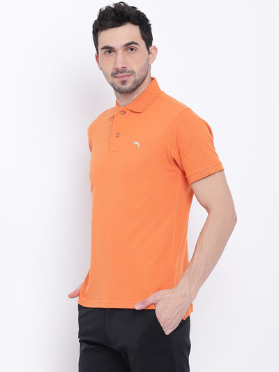 Men Casual Solid Orange Polo Collar T-Shirt - JUMP USA
