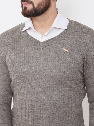 JUMP USA Men Beige Self Design Sweater - JUMP USA