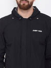 JUMP USA Men Black Hooded Rain Jacket - JUMP USA