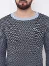 JUMP USA Men Blue Self Design Sweater - JUMP USA