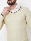 JUMP USA Men Butter Self Design Sweater - JUMP USA
