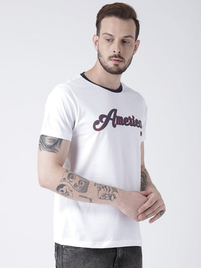 Men White Solid Round Neck T-shirt - JUMP USA