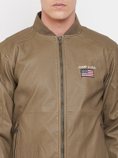 JUMP USA Men Khaki Solid Casual Biker Jacket - JUMP USA