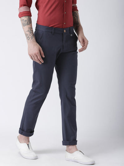 Men Navy Blue Slim Fit Solid Chinos - JUMP USA