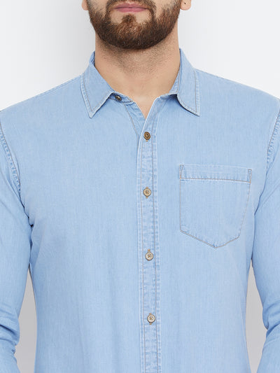 Men Blue Washed Slim Fit Casual Shirt - JUMP USA